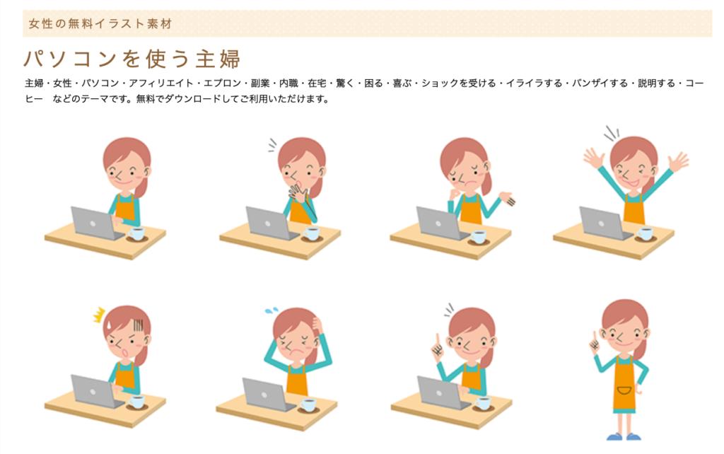 人物イラスト館 パソコンを使う主婦に対して様々な動きで喜怒哀楽を表現