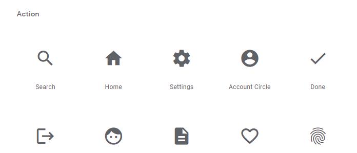 material Icons カテゴリー
